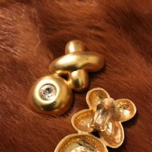Vintage Gold X Clip On Earrings